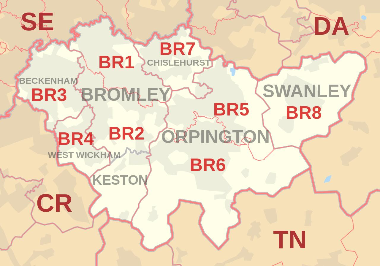 Map postcode BR Bromley